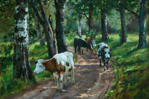 A herd of cows in the woods