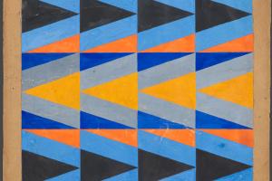 Любовь Сергеевна Попова. Эскиз ткани с орнаментом из цветных треугольников