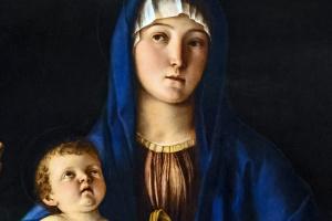 Дева с младенцем, святой Екатериной и Марией Магдалиной. Фрагмент. Мария с младенцем