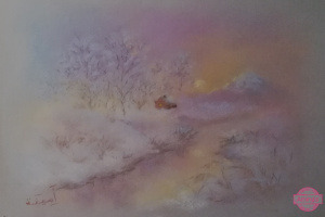 """Amina. Painting the landscape with dry pastel """"The house near the snow mountain"""""""