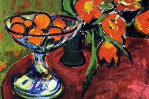 Эрнст Людвиг Кирхнер. Натюрморт с апельсинами и тюльпанами