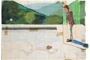 Эскиз для  «Портрета художника (Бассейн с двумя фигурами)»