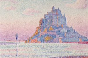 Mont-Saint-Michel. Setting sun