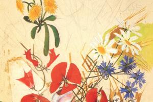 Михаил Александрович Врубель. Полевые цветы. Эскиз для вышивки