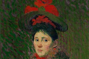 Cuno Amiè. Portrait of a woman in a red hat (Emmy)
