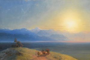 Вид Кавказа с Казбека на расстоянии