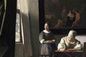 Дама, пишущая письмо, и её служанка