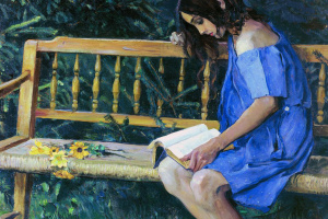 Natasha Nesterova on a garden bench