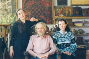 Лев Авксентьевич Овчинников. Л.А.Овчинников в мастерской с женой и друзьями