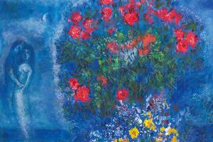 Марк Захарович Шагал. Красный и желтый букет на синем фоне