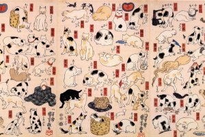 Triptych: Cat, representing the 53 stations of the Tokaido