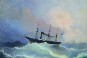 "12-пушечный пароход фрегат ""Камчатка"". 1848"