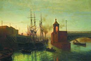 Лев Феликсович Лагорио. Вид разводного моста на Неве. Летняя ночь. 1866