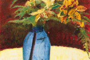 Куно Амье. Натюрморт с лилиями и папоротником в голубой вазе