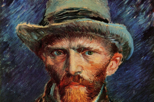 Self-portrait in a gray felt hat