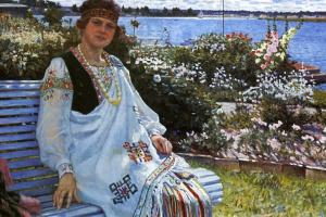 Николай Петрович Богданов-Бельский. Весна. Портрет госпожи И. Баумане