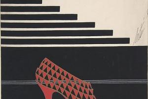 """Роман Петрович Тыртов (Эрте). Дизайн красных туфель с треугольным рисунком для торговой марки """"Делман"""""""