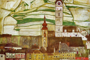 Egon Schiele. Stein on the Danube. View from the South