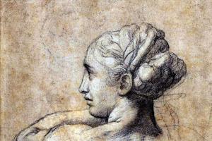 """Рафаэль Санти. Голова женщины. Этюд к картине """"Преображение"""""""