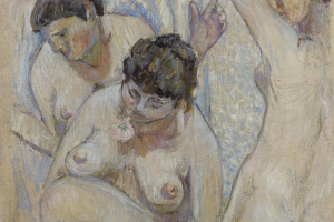 Mikhail Fedorovich Larionov. Three bathers with a rose. 1904