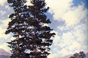 Максфилд Пэрриш. Пейзаж с двумя соснами (Живописные холмы)