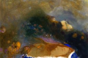Офелия в голубом плаще на воде