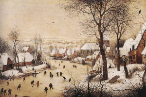 Питер Брейгель Старший. Зимний пейзаж с катающимися на коньках и ловушкой для птиц