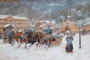 Boris Mikhailovich Kustodiev. The episode with the sled