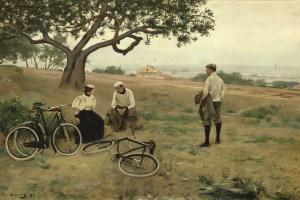 Отдыхающие велосипедисты (Отставшие велосипедисты)