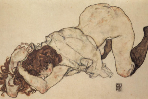 Egon Schiele. Girl on her knees, leaning on his elbows