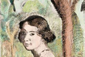 Куно Амье. Молодая женщина на фоне пейзажа