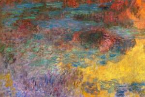 Клод Моне. Пруд с водяными лилиями, вечер (левая половина)