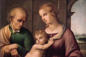 Рафаэль Санти. Святое семейство (Мадонна с безбородым Иосифом)