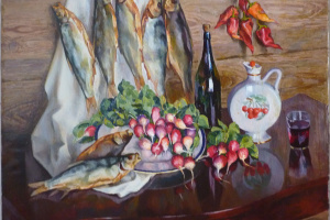Still life with radishes