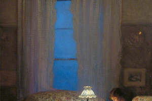 Джордж Клаузен. Чтение при свете лампы (Сумерки, интерьер)