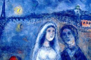 Марк Захарович Шагал. Новобрачные на фоне Эйфелевой башни