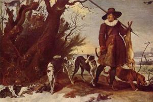Jan van Wildens. Winter landscape with a hunter