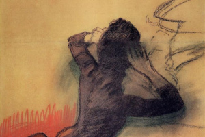 Эдгар Дега. Сидящая женщина, поправляющая волосы