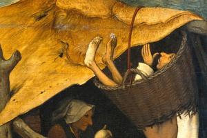 Питер Брейгель Старший. Фламандские пословицы. Фрагмент: В корзине провалиться - показать окружающим свою нерешительность. Взять куриное яйцо, упустив гусиное - принять неверное решение