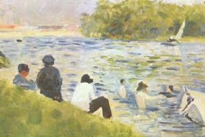 Жорж Сёра. Купальщицы и белая лошадь в реке