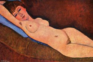 Амедео Модильяни. Лежащая обнаженная с голубой подушкой