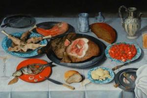 Якоб ван Хюльсдонк. Завтрак с куском рыбы, ветчины и вишней