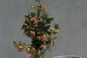 Анри Фантен-Латур. Натюрморт с боярышником в вазе, вишнями, японской миской и чашкой с блюдцем