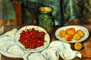 Still life with plate of cherries