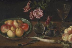 Йозеф Плепп. Натюрморт с тарелкой яблок, бокалом, редькой и фруктами