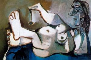 Пабло Пикассо. Лежащая обнаженная, играющая с кошкой
