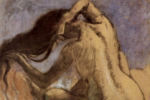 Эдгар Дега. Сидящая спиной обнаженная, расчесывающая волосы