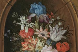Балтазар ван дер Аст. Натюрморт с букетом цветов в нише и бабочкой