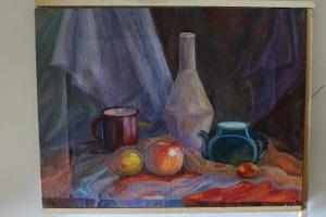 """Nastja Nova. """"Натюрморт с вазой, синим чайником и фруктами"""""""