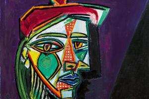 Пабло Пикассо. Женщина в берете и клетчатом платье (Мария-Тереза Вальтер)